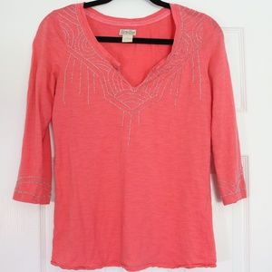 Lucky Brand Coral Beaded Embroidery Tunic Small